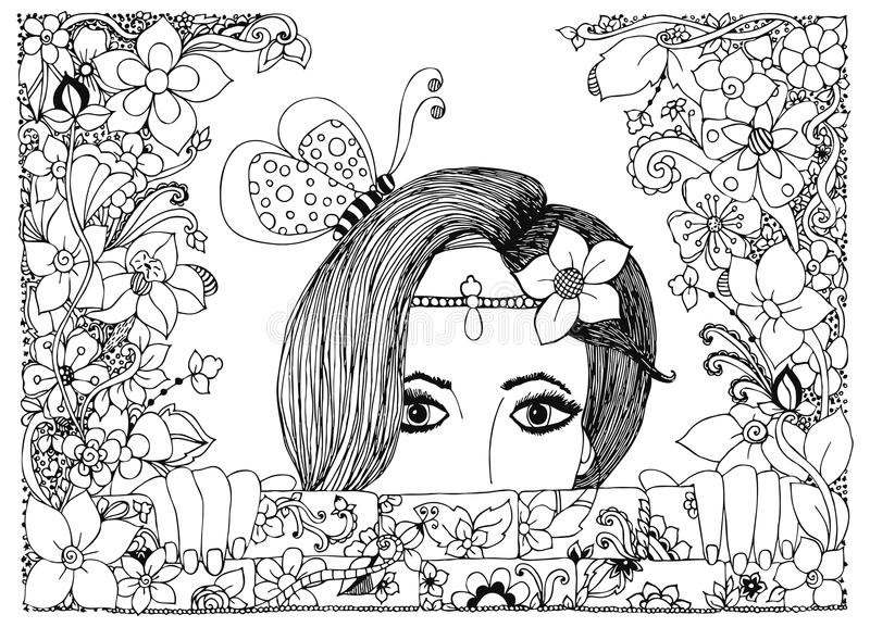 Vector illustration zentangl girl looks out of the stone walls in flowers, floral doodle frame, zenart, dudlart royalty free illustration