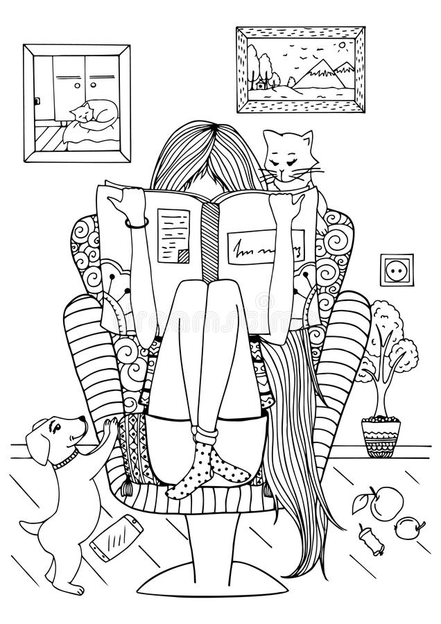 vector illustration zentangl girl sitting in a chair reading a book doodle drawing stock. Black Bedroom Furniture Sets. Home Design Ideas