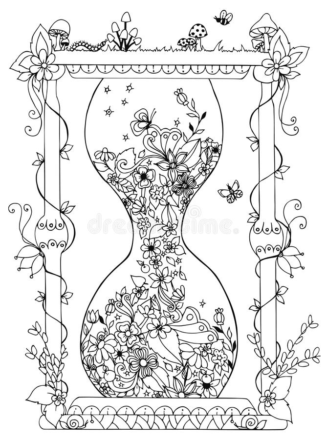 Vector illustration zentangl hourglass with flowers. Time, flowering, spring, doodle, zenart, summer, mushrooms, nature stock illustration
