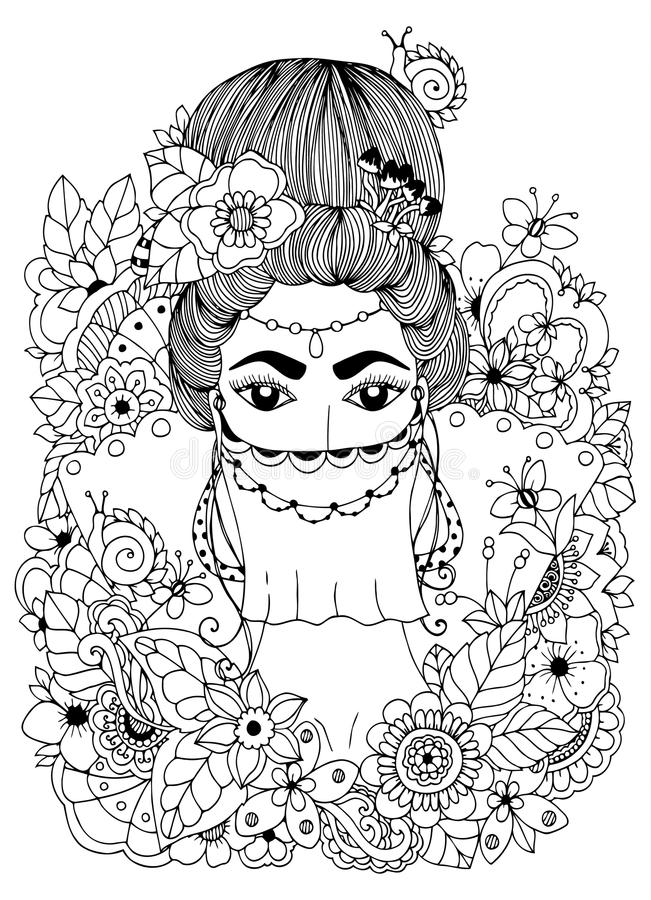 Vector Illustration Zentangl Oriental Princess In Flowers