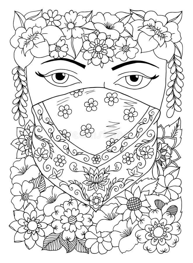 Vector Illustration zentangl orientalisches Mädchen in den Blumen Vektor ENV 10 Malbuchantidruck für Erwachsene Nachdenkliches ex vektor abbildung