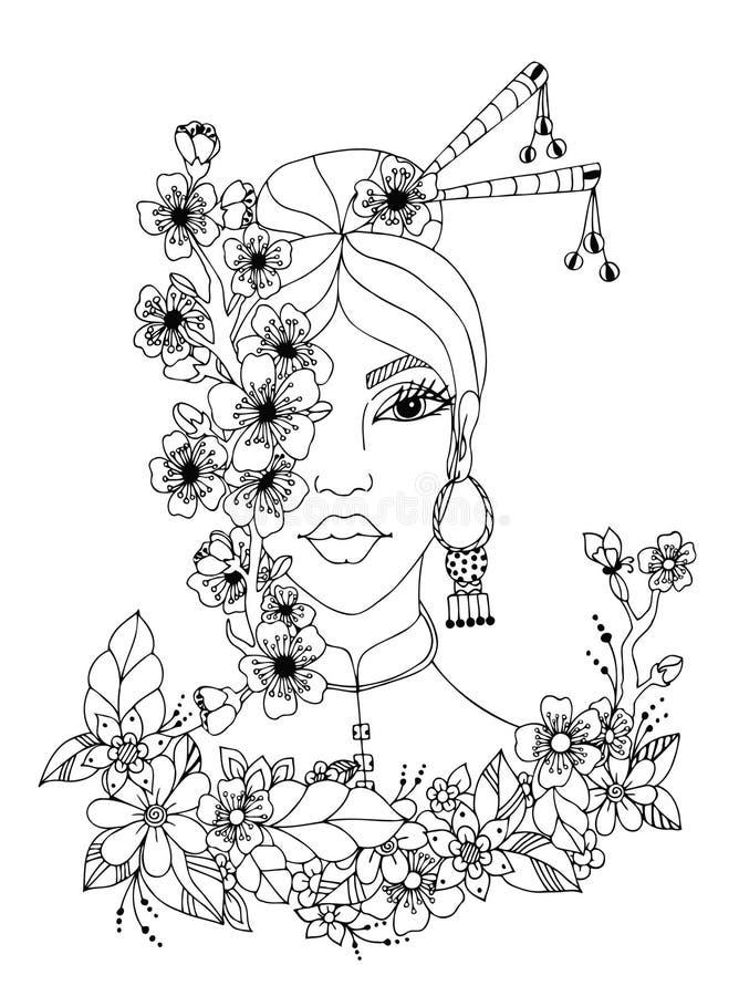 Vector illustration zentangl portrait of Japanese women, doodle flowers, sakura, frame, spring, bloom. Coloring book royalty free illustration