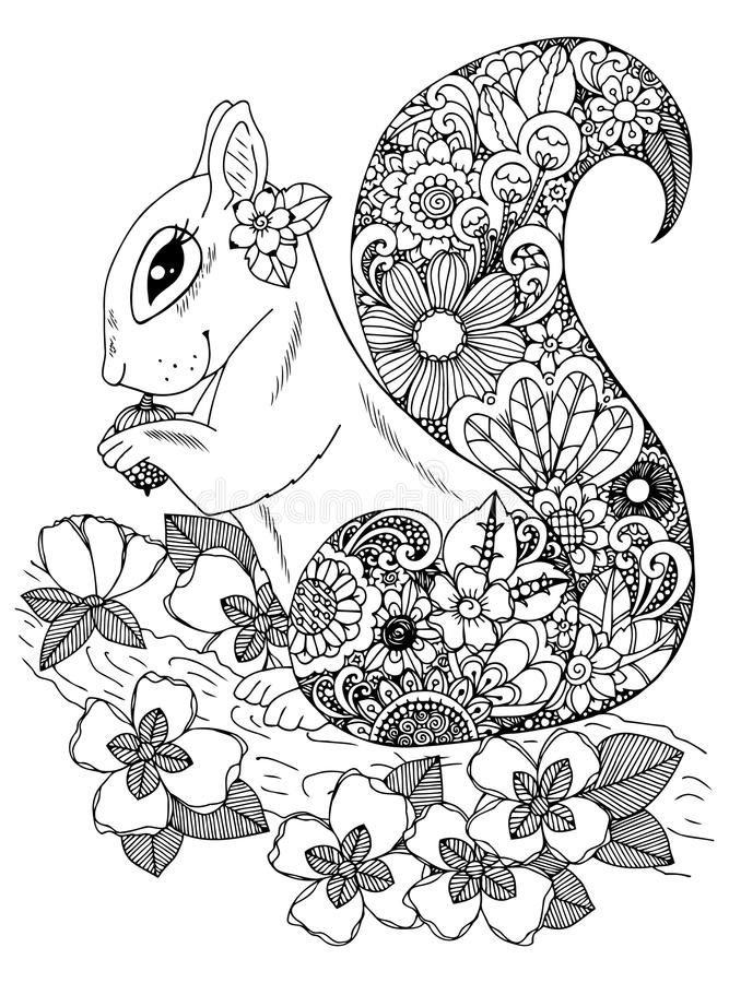 Vector illustration zentangl, squirrel with flowers. Doodle drawing. Coloring page Anti stress for adults and children. Black and white stock illustration