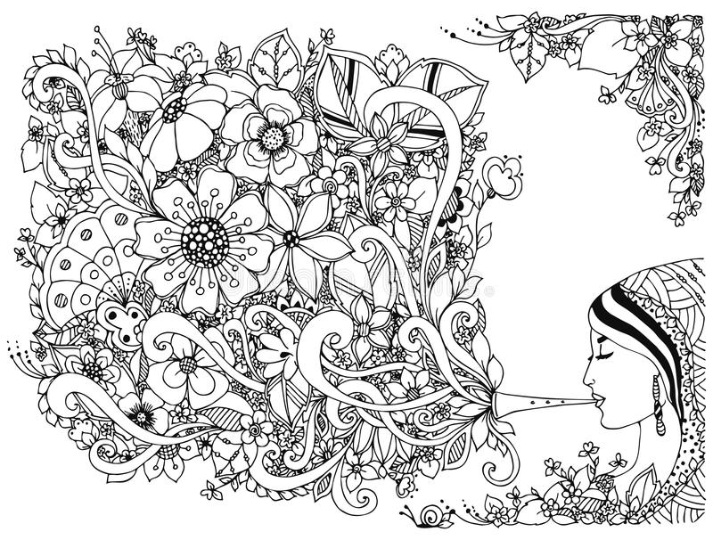 Vector illustration zentangl woman, girl flute with flowers. Coloring Anti stress. Black and white. Adult coloring books royalty free illustration