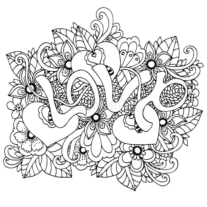 Vector illustration zentangl, the word Love in flowers. Doodle drawing. Coloring book anti stress for adults. Meditative. Exercises. Black and white vector illustration