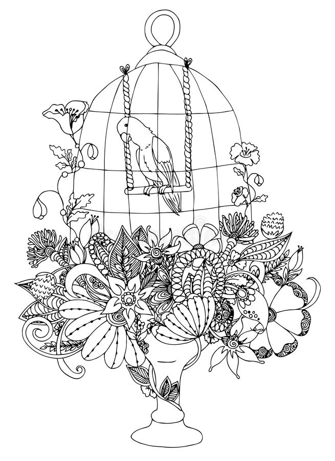 Vector illustration zentangle cage with a parrot, flowers. Coloring book anti stress for adults. Black and white. vector illustration