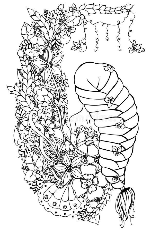 Vector Illustration Zentangle Frau, Mädchen In Den Blumen Offener ...