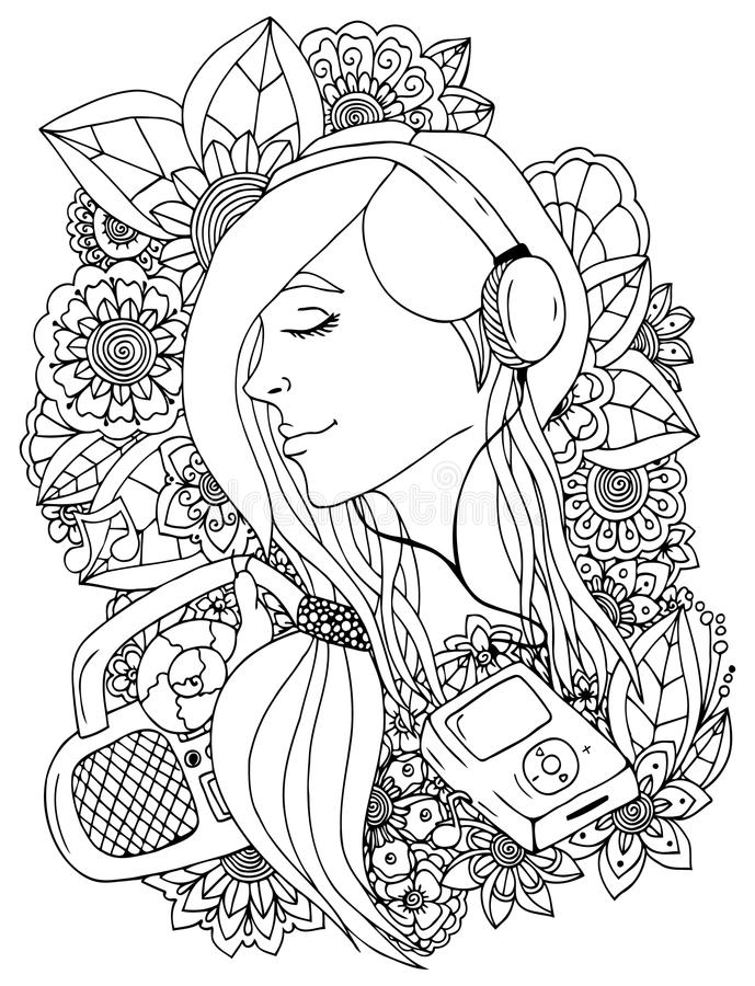 Vector illustration zentangle girl and headphones in the flowers. Doodle drawing. Meditative exercise. Coloring book anti royalty free illustration