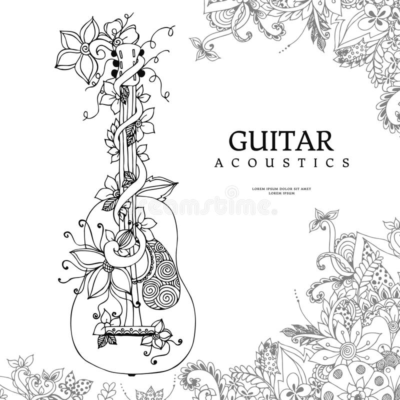 Vector illustration zentangle guitar with flowers in frame of flowers, acoustics, strings, doodle, zenart. Adult coloring. Books. Black and white royalty free illustration