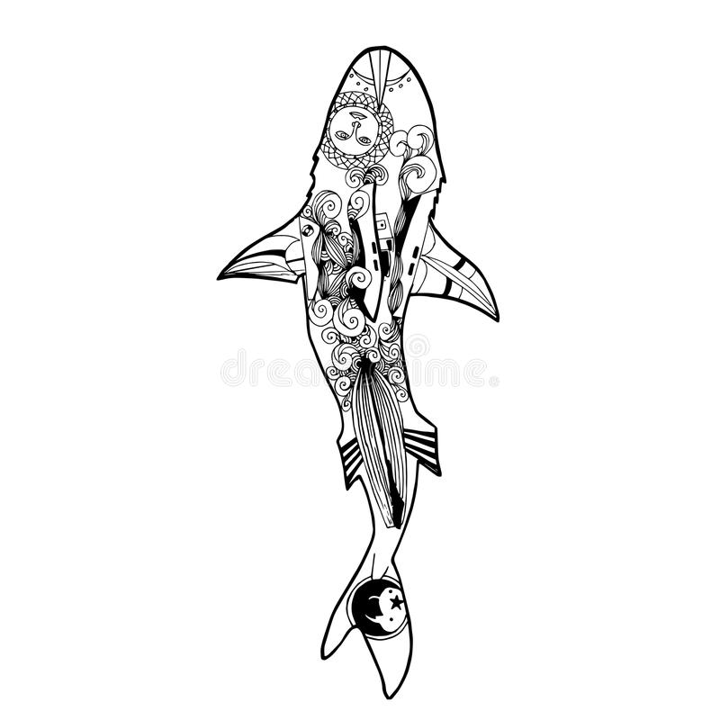 Download Vector Illustration Of Zentangle Shark Coloring Book Stock