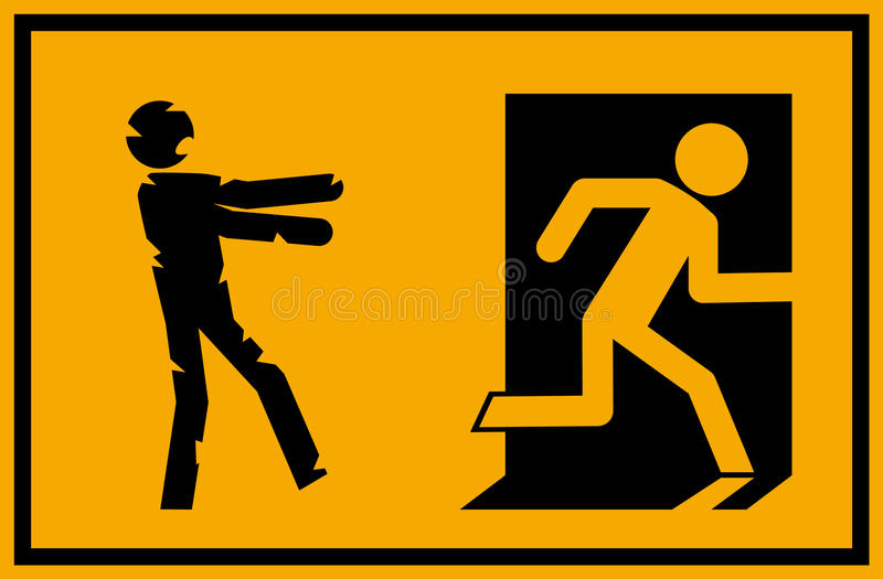 Vector illustration - zombie emergency exit sign with a stick figure silhouette undead chasing a person trying to escape royalty free illustration