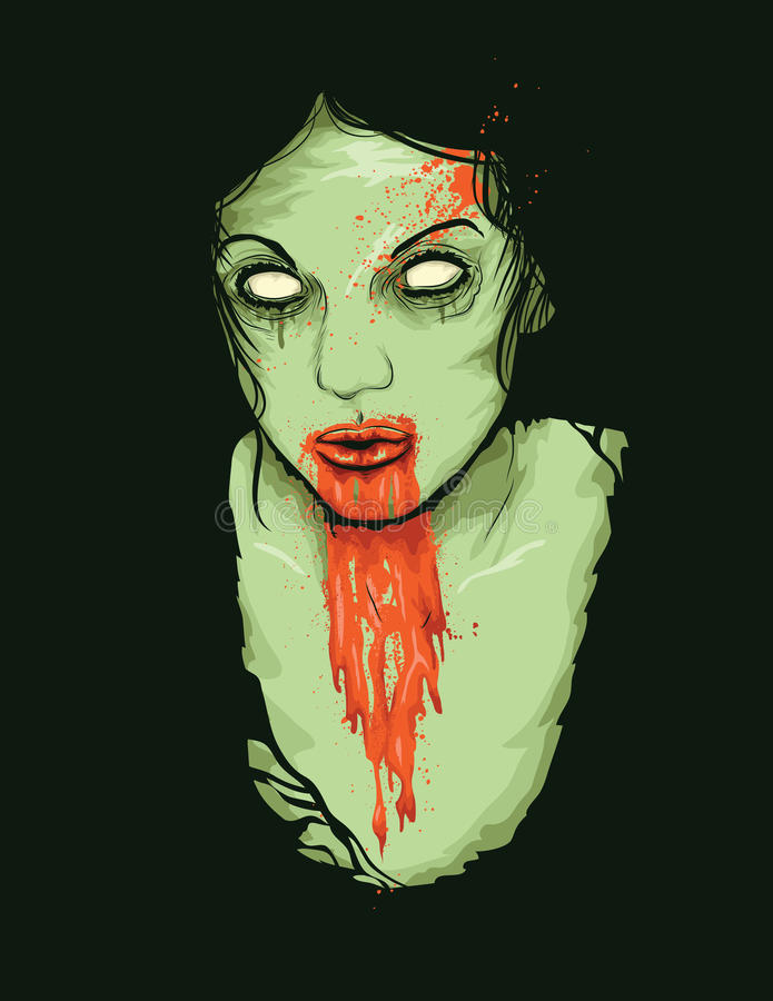 Vector Illustration of Zombie Girl. Vector Illustrator of Female Zombie Girl with blood dripping from her mouth vector illustration