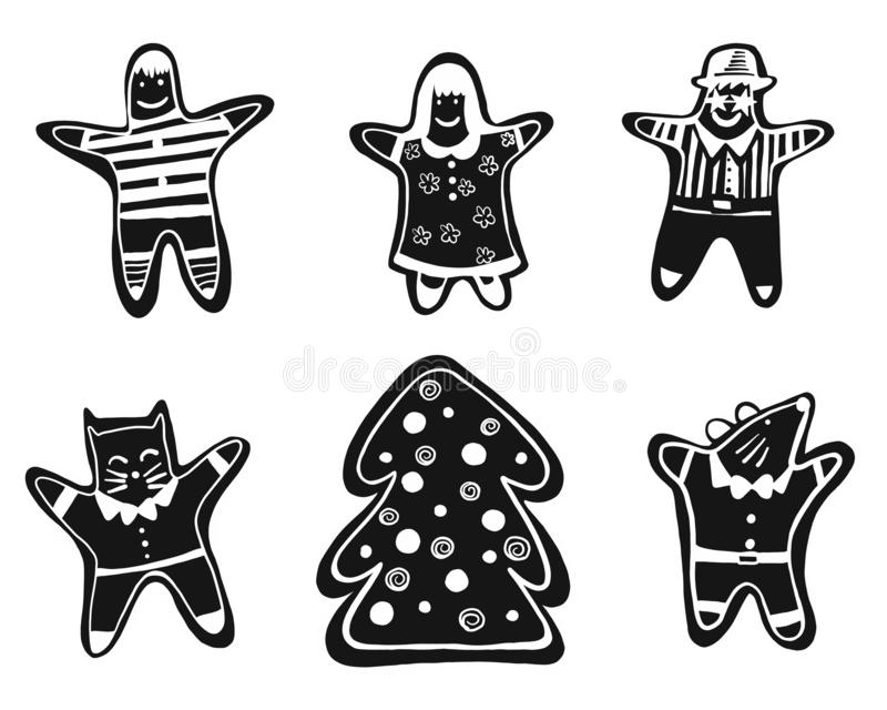 Vector illustratione gingerbread set of man, girl, tree, cat and mouse black and white isolated on white background for. Vector illustratione cute gingerbread royalty free illustration