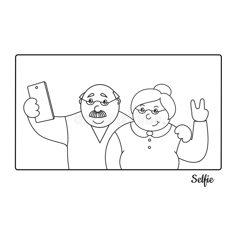 Vector illustrationold happy old man and old lady making selfies on the phone,family photo portrait of grandparents royalty free illustration