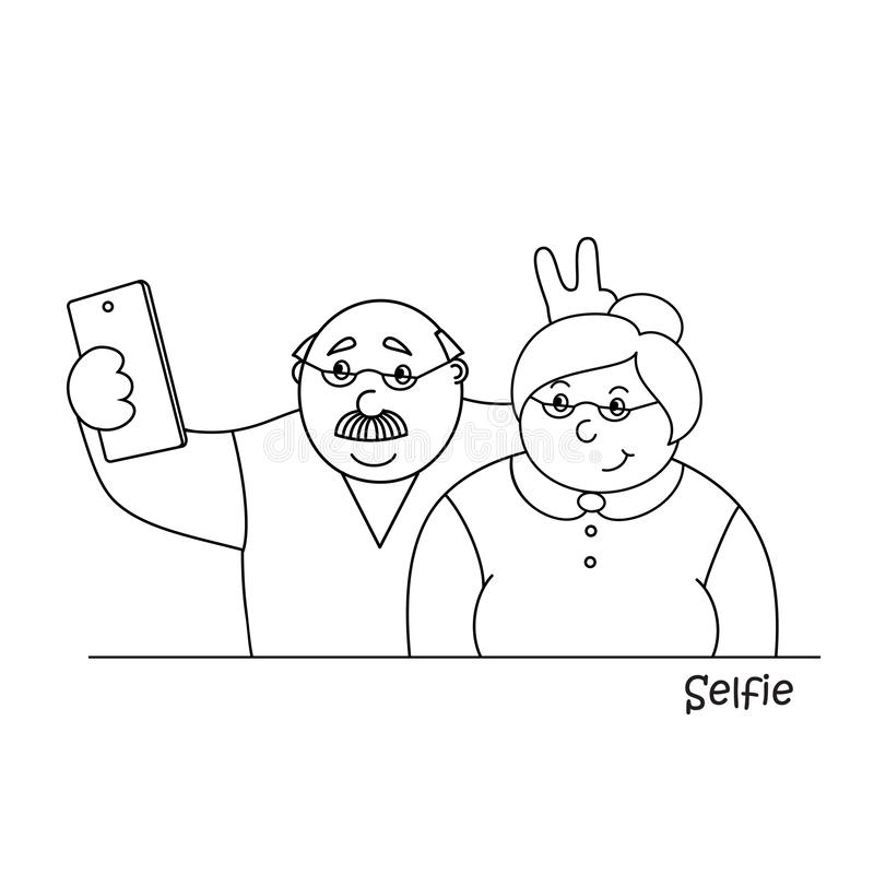 Vector illustrationold happy old man and old lady making selfies on the phone,family photo portrait of grandparents stock illustration