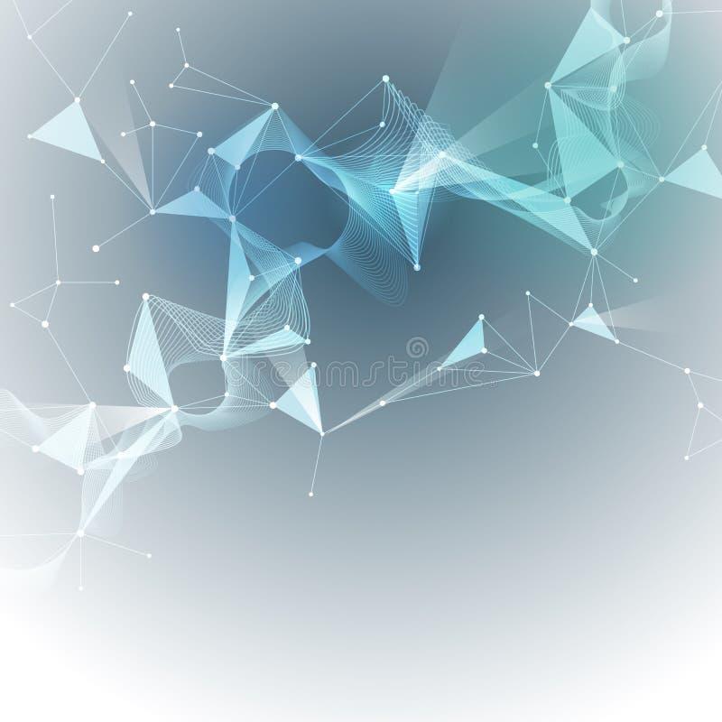 Vector Illustrations-abstrakte Moleküle und Masche 3D mit Kreisen, Linien, Polygonformen lizenzfreie abbildung