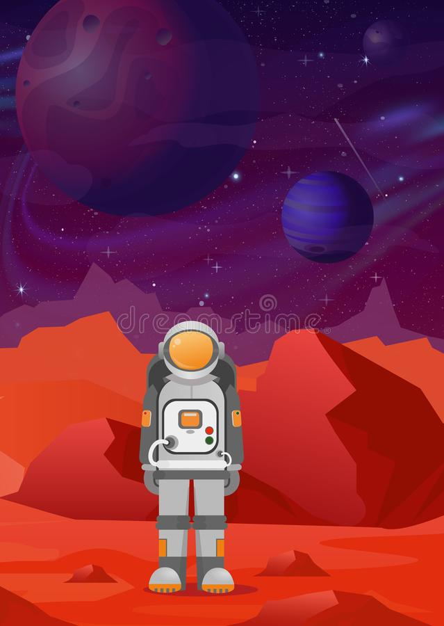 Vector illustrations of astronaut on Mars. red mountains landscape on dark space with planets background. astronomy. Space exploration, colonization, flat royalty free illustration