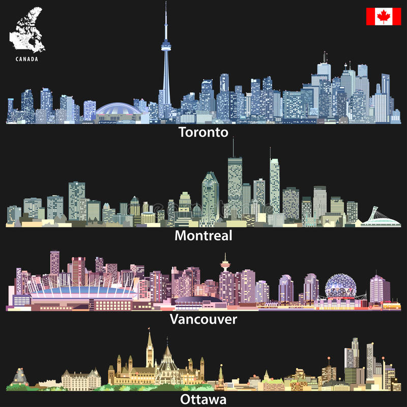 Vector illustrations of Canadian cities Toronto, Montreal, Vancouver and Ottawa skylines in different color palettes with map and. Illustrations of Canadian stock illustration