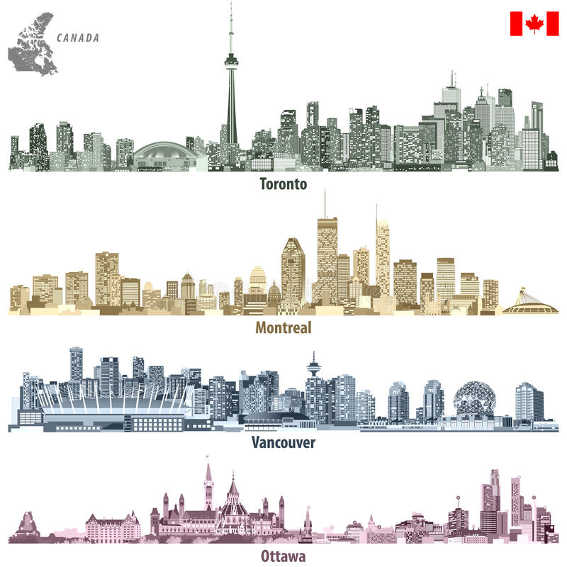 Vector illustrations of Canadian cities Toronto, Montreal, Vancouver and Ottawa skylines in different color palettes. Illustrations of Canadian cities Toronto vector illustration