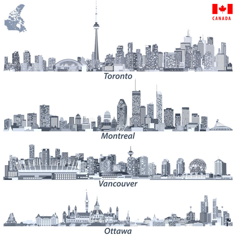 Vector illustrations of Canadian cities Toronto, Montreal, Vancouver and Ottawa skylines in tints of blue cod flags of the countri. Illustrations of Canadian vector illustration