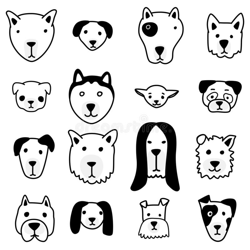 Vector Set Of Dog Face Stock Vector Illustration Of Drawing