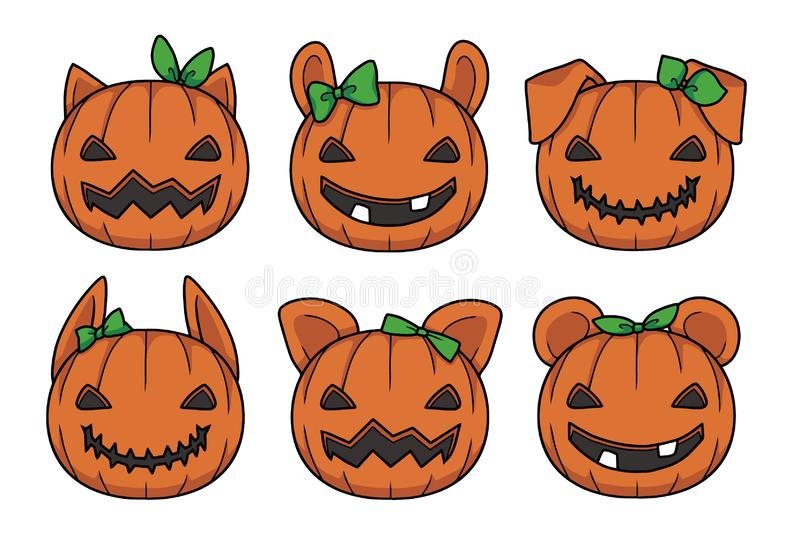 Vector illustrations of cute orange cartoon style carved Halloween pumpkin lanterns with different animal ears. And green ribbons stock illustration
