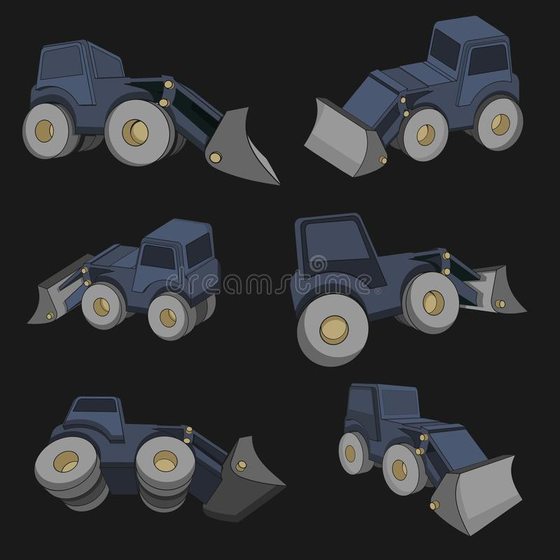 Vector Illustrations of a 3D tractor. In Different projections, from PRO-STICK vector illustration