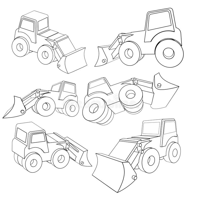 Vector Illustrations of a 3D tractor. In Different projections, from PRO-STICK royalty free illustration