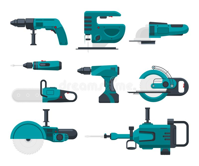Vector illustrations of electrical construction tools stock illustration