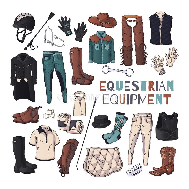 Vector illustrations on the equestrian equipment theme. Vector illustrations on the equestrian theme accessories and clothing for horses and riders. Isolated royalty free illustration