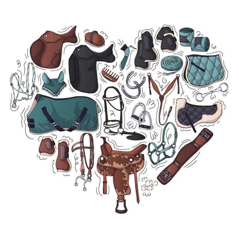 Vector illustrations on the equestrian equipment theme. Vector illustrations on the equestrian theme accessories and clothing for horses and riders. Isolated stock illustration