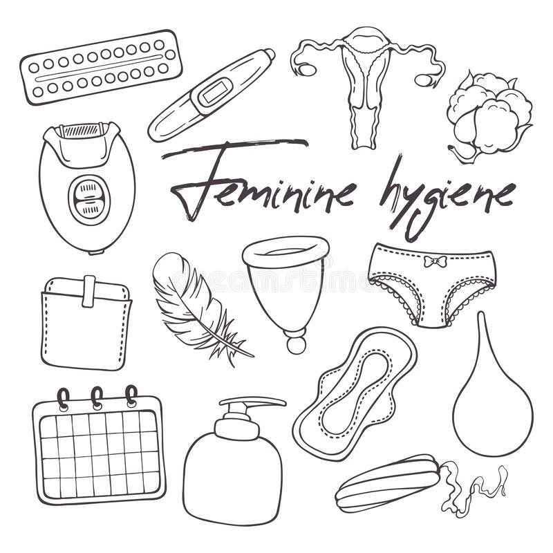 Vector illustrations on the feminine hygiene theme. Accessories for the care of the female body. Isolated objects for your design. Each object can be changed royalty free illustration