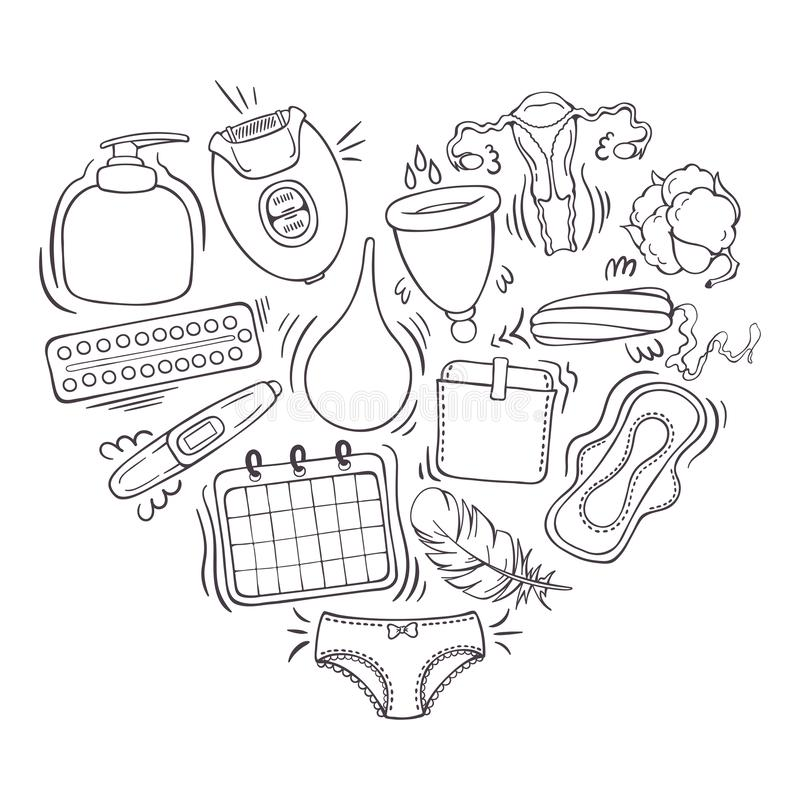 Vector illustrations on the feminine hygiene theme. Accessories for the care of the female body. Isolated objects for your design. Each object can be changed stock illustration
