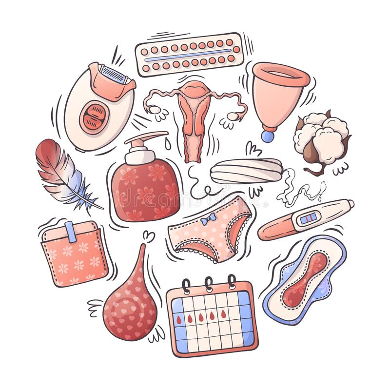Vector illustrations on the feminine hygiene theme. Accessories for the care of the female body. Isolated objects for your design. Each object can be changed vector illustration