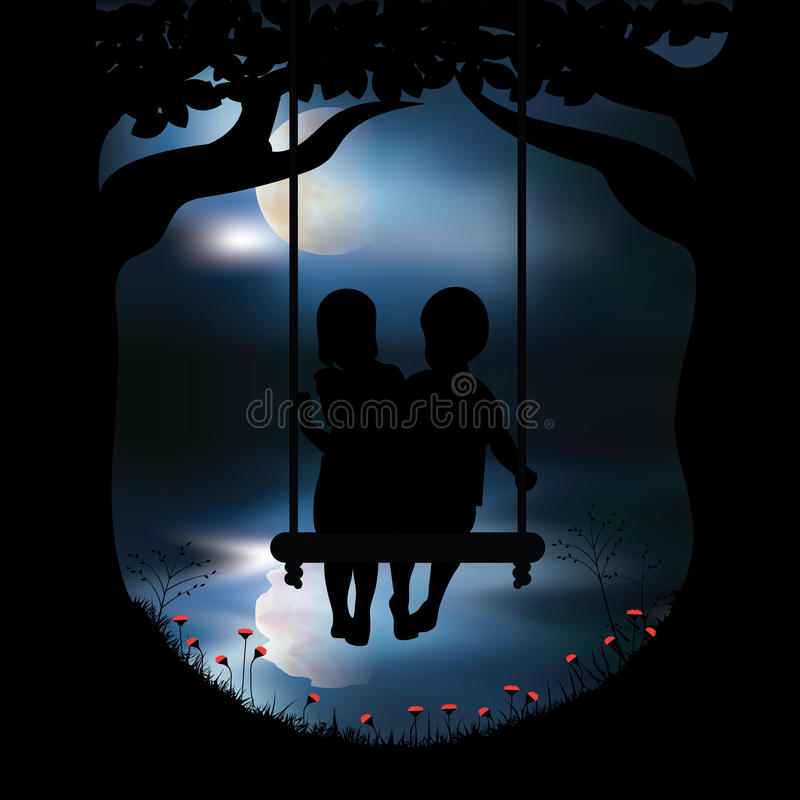 Vector illustrations Girls and boys play the swings. Moon stock illustration