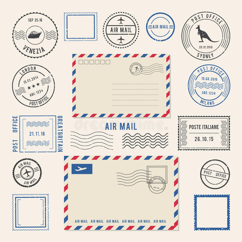 Vector illustrations of letters and postmarks, airmail designs. Antique stamps royalty free illustration