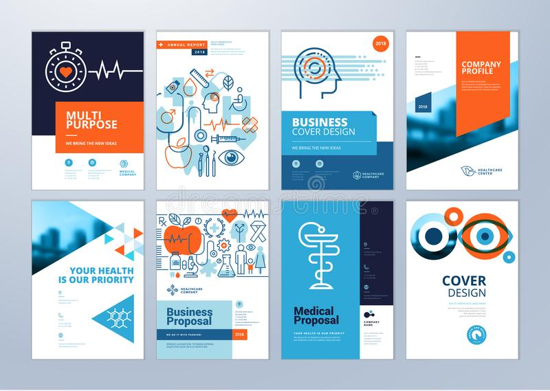 Set of medical brochure, annual report, flyer design templates in A4 size vector illustration