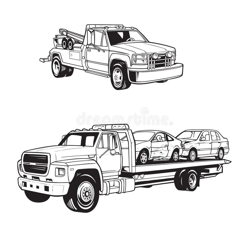 Free Vector Illustrations Of Different Tow Trucks Stock Photos - 130464363