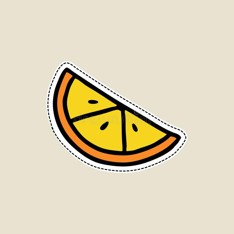 Vector illustrations of a orange slice on white background in doodle cartoon style. Isolated on white, for stickers, pins, badges. Vector illustrations of a royalty free illustration