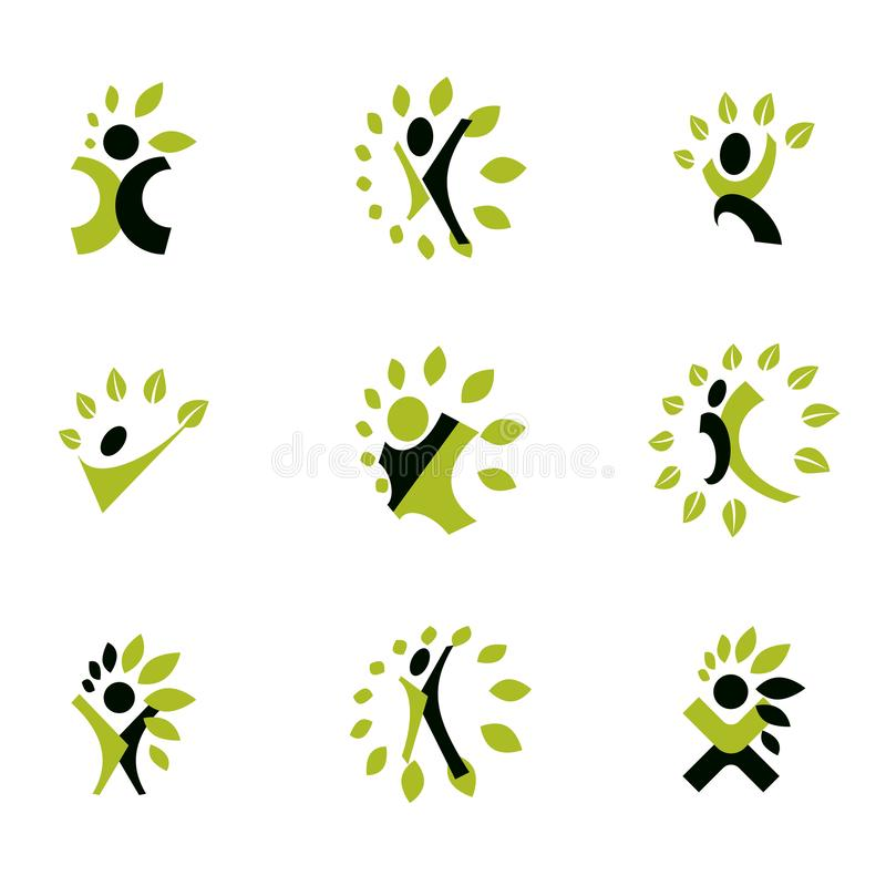 Vector illustrations set, excited abstract with raised hands up. Restoring to health conceptual vector logo royalty free illustration