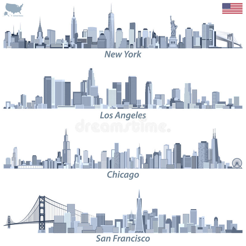 vector illustrations of United States city skylines in tints of blue color palette with map and flag of United States vector illustration