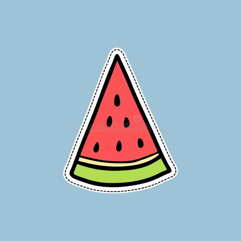Vector illustrations of a watermelon slice on white background in doodle cartoon style. Isolated on white, for stickers, pins,. Vector illustrations of a stock illustration