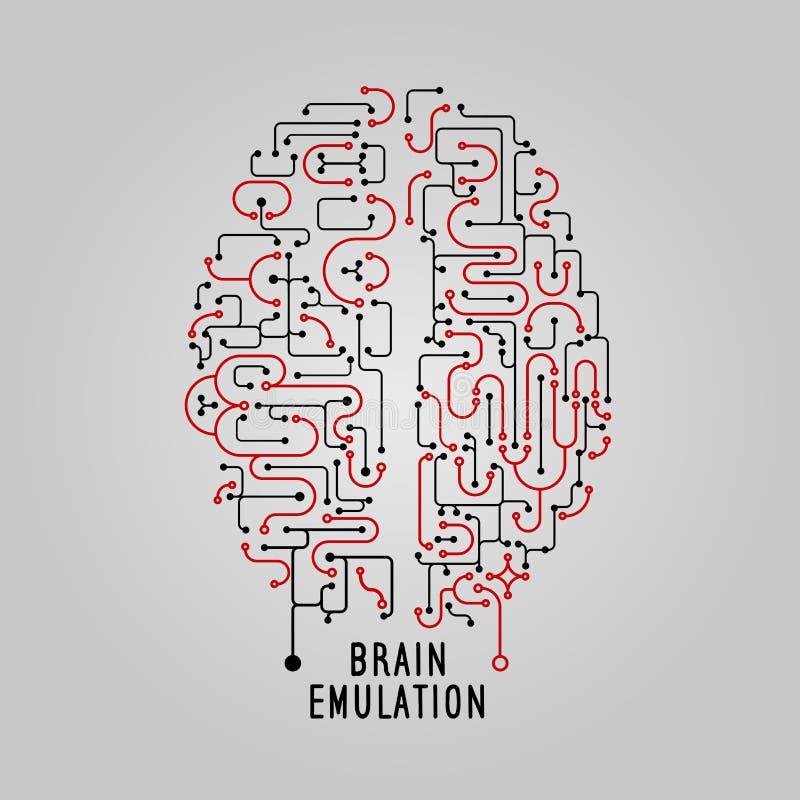 Vector Illustrationsgehirnkonzept in der Linie Art, für technolog, kreatives Design Stilisiertes Gehirn Elektronischer Verstand stock abbildung
