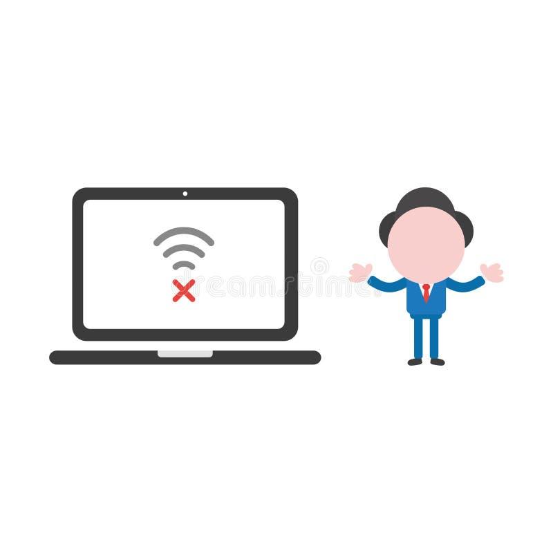 Vector Illustrationsgeschäftsmann mit Laptop-Computer, drahtloses w lizenzfreie abbildung