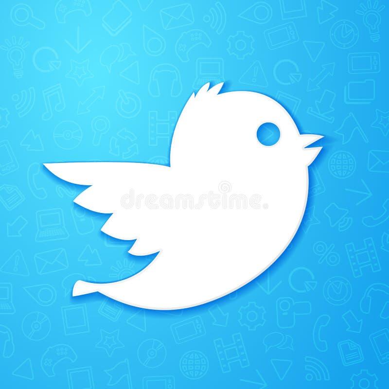 Vector Illustrationsikone mit kleinem weißem Vogel, Social Media-Netzzeichen mit blauem Muster im Hintergrund stock abbildung