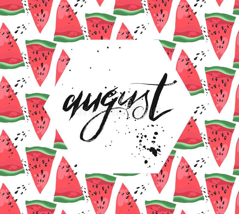 Vector Illustrationskarte mit dem handwrittenink Texturwort, das auf dem geschnittenen Wassermelonenmuster herrlich ist, das auf  lizenzfreie abbildung