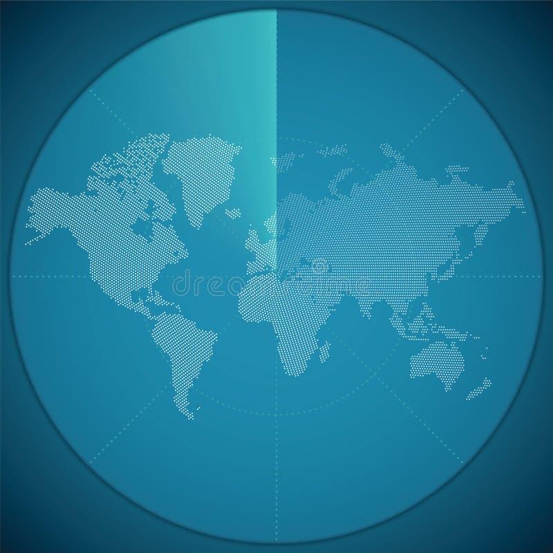 Vector Illustrationskonzept der Weltkarte auf digitaler Sonaranzeige vektor abbildung