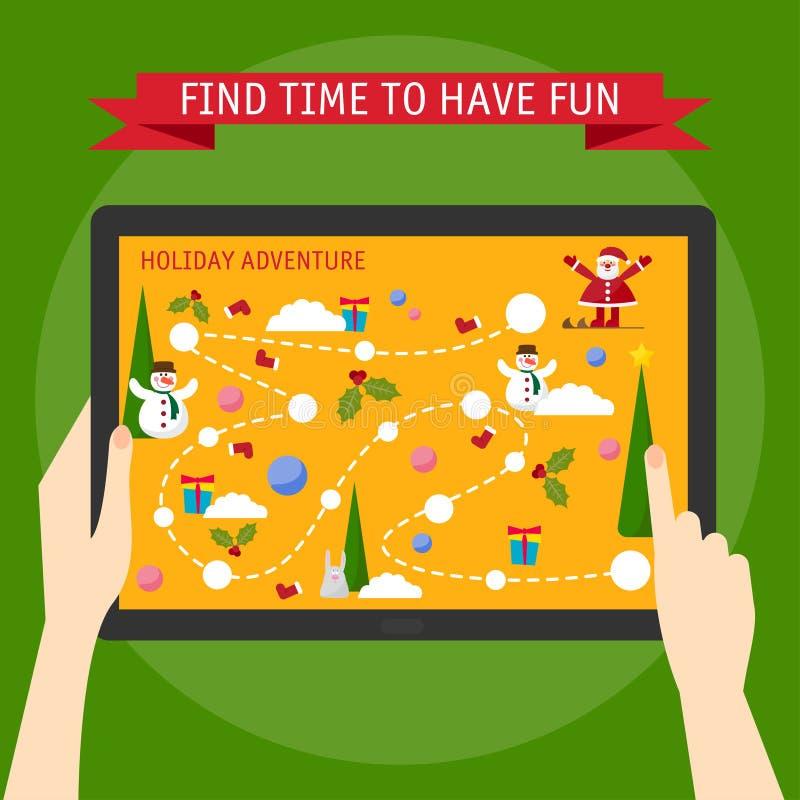 Download Vector Illustrationskonzept Von Den Händen, Die Tablette Und Pointin Halten Vektor Abbildung - Illustration von spaß, farbe: 47100141