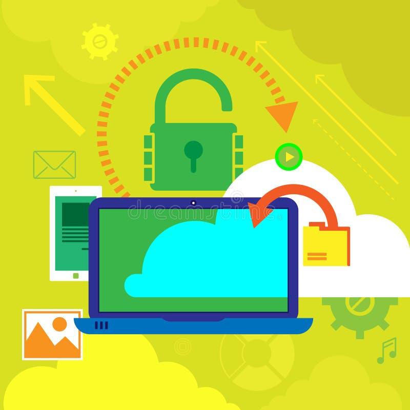 Vector Illustrationskonzepte für Datenschutz und Internet-Sicherheit Konzepte für Netzfahnen lizenzfreie abbildung