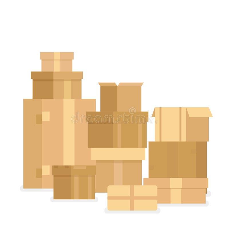 Vector Illustrationsstapel von Staplungssiegelwarenpappschachteln Lieferungskästen und -behälter lokalisiert auf Weiß stock abbildung